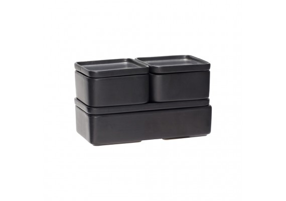 Set of ceramic storage boxes with lid