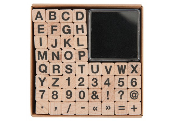 Stamp set with letters and numbers