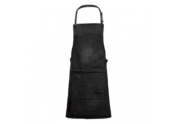 Black distressed denim BBQ apron