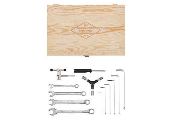 Bicycle tools in wooden box