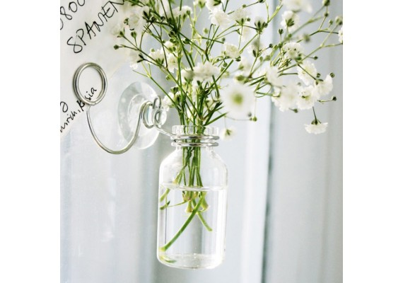 Hanging bottle vase with card holder