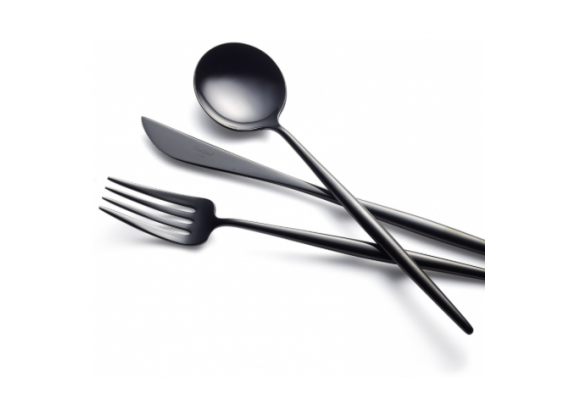Moon black cutlery set