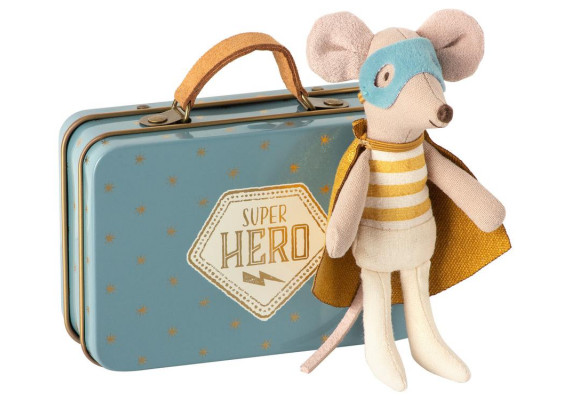 Superhero in suitcase with little brother mouse